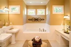 stock-photo-10118390-large-bathroom-with-pedestal-sinks-and-large-tub